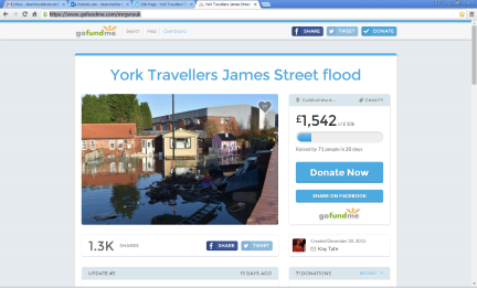 Flood charity page